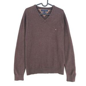 Tommy Hilfiger Brown V Neck Cotton Cashmere Blend Sweater Pullover Size M