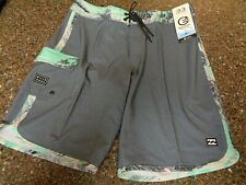 "Billabong Recycler Pro Board Shorts Gray Size 33"" NWT 19.5"" Swim Beach Trunks"