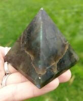 "2.3"" LABRADORITE Pyramid Healing Crystal Stone Reiki Charged A1 7.4oz READ BELOW"