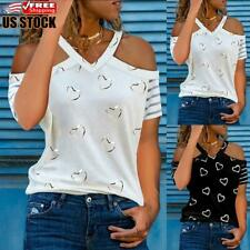 US Women's Cold Shoulder Tops Blouse Ladies Casual Printed V Neck Tee T-Shirt