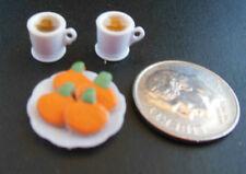 Dollhouse Miniature Halloween Handcrafted plate pumpkin cookies w/2 filled mugs