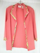ALFRED DUNNER PINK W/MULTI-COLOR TRIM 3/4 SLEEVE OPEN FRONT BLAZER SZ 14 #G222