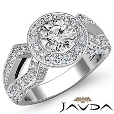 Halo Pave Round Diamond Engagement Vintage Ring GIA F VS1 14k White Gold 2.92ct