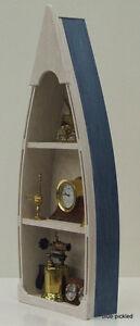 4' Blue Custom  Handmade Wood Boat Shelf skiff canoe rowboat bookcase man cave