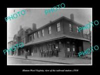 OLD LARGE HISTORIC PHOTO OF HINTON WEST VIRGINIA, THE RAILROAD STATION c1930