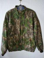 VTG Mossy Oak Camo Fleece Lined Full Zip Chamois Bomber Jacket Made in USA XXL