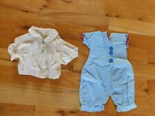 Handmade Baby Clothes Shirt w/ Scottie Dog Buttons + Blue Romper Vintage