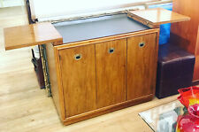 Mid Century Modern Drexel Accolade Dry Bar Barcart Rolling Campaign