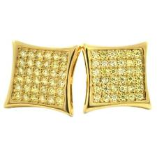 Bling Bling Earrings IcedOut Ear Jewelry Hip Hop 6x6 Kite Gold Canary Cz