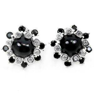 NATURAL AAA BLACK SPINEL CABOCHON & WHITE CZ STERLING 925 SILVER FLOWER EARRING