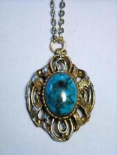 Vintage Silver Tone & Faux Turquoise Cabochon Pendant Necklace            ...#18