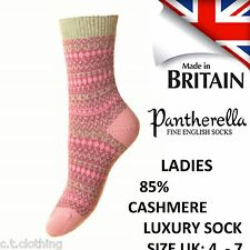 Floria Pantherella Ladies 85% Cashmere Fairisle Jacquard  Sock Size UK 4-7