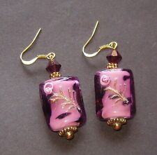 AMETHYST WITH PINK ROSES LAMPWORK GLASS EARRINGS
