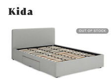 Kida King size storage bed with drawers, pluto grey weave.