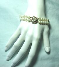 """14K Yellow Gold / Pearl / Diamond Bracelet 27.1 grams 8 1/2"""" Fine Knotted Pearls"""
