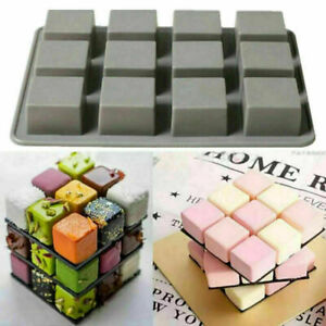12 Grid Silicone Square Cube Cake Mould Candy Cookie Chocolate Baking Mold .
