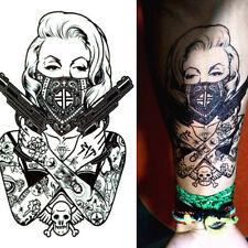 Black Mask Girl Temporary Tattoo Sticker Body Art Waterproof Removable Sticker