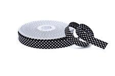 Schrägband Einfassband Borte Bordüre schwarz mit weißen Punkten 18 mm
