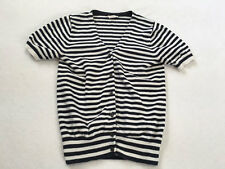 Crewcuts 12 Navy Blue White Stripe Button Front Cardigan Sweater Short Sleeve