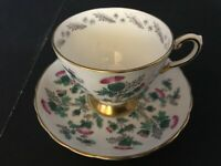 BONE CHINA CUP & SAUCER BY TUSCAN RED THISTLE GREEN LEAVES GOLD TRIM D219