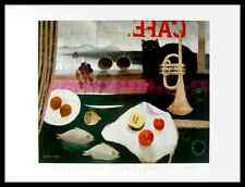 Mary Fedden the Black Cat Cafe Poster Picture Art Print in Aluminium Frame 60x80cm