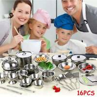 16Pcs Kids Kitchen Toys Set Stainless Steel Play Cookware Pots Pans Toys Pretend