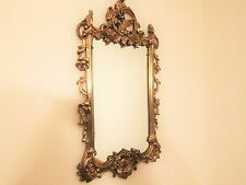 "Vintage Gold Syroco Mirror 30""x 16"" Marked and Very Hollywood Regency and Chic"