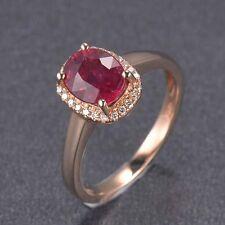 Estate 1.46CT Natural Red Rubellite Solid 14K Yellow Gold Diamond Wedding Ring