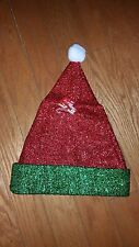 Santa Claus Red & Green Tinsel Hat w/Pom Pom. Standard Size.