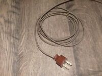 BROWN ~ 8' Cloth Covered Lamp Cord & Vintage Plug ~ Light Fan Appliance Rewire