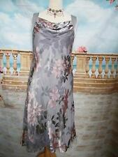 Jacques Vert Dress size 12 Silk Mix Grey/Pink Floaty Wedding Holiday Cruise