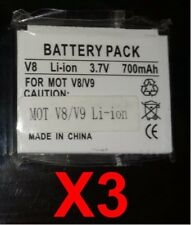 Lot Of 3 New Motorola V8 V9 Generic Battery
