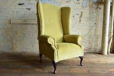 MODERN QUEEN ANNE CHESTERFIELD WING ARM CHAIR EXTRA HIGH BACK LIME GREEN VELVET
