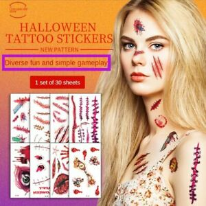 Halloween Scar Tattoo Paste Simulation Face 3D Fake Wound Dark Department Scar