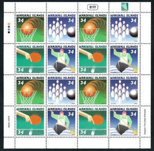 MARSHALL ISLANDS, SCOTT # 783, FULL SHEET OF SPORTS: BASKETBALL, BOWLING, TENNIS