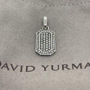 David Yurman 925 Sterling Silver Streamline Pave White Diamond Pendant Dog Tag