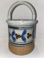 Vintage Hand Thrown Pottery Basket With Handle Artist Signed Blue Brown Gray