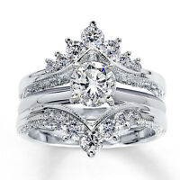 3.15 Ct Sim Diamond Solitaire Guard Enhancer Band Engagement Ring 14K White Gold