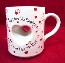 """Papel Coffee Mug Cut Out Heart """"Our Love Has No Beginning. No End"""""""