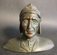 "Fine 19th C. Miniature 4"" Bronzed Sculpture of Dante  c. 1880  figure"