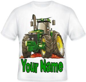 Kids Koolart Personalised Green Tractor JOHN DEERE Tractor T Shirt Gift
