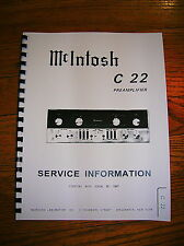 McIntosh C22 1960's Tube PreAmplifier OWNER'S MANUAL + C22 SERVICE SCHEMATIC