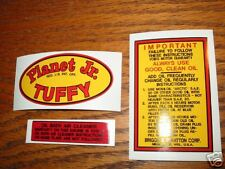 Planet Jr. Tuffy Decal for gas engine Tractors; 26Set