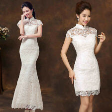 White Lace Cheongsam Evening Prom Party Wedding Bridesmaid Dress Ball Gown C143