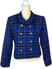 Talbots Petites Wool Double Breasted Blue Plaid Blazer Jacket Coat Size 8P