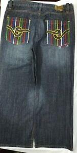 Coogi Embroidered Colorful Pockets Dark Wash  Denim Jeans Mens Size W42 x L32