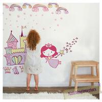 Childrens Princess Castle Pink Wall Stickers Decals Nursery Girls Bedroom Kids