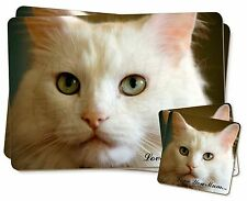 White Cat 'Love You Mum' Twin 2x Placemats+2x Coasters Set in Gift B, AC-79lymPC