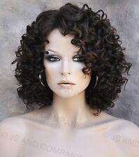 Short Corkstrew Human Hair Blend wig Brown Strawberry mix Heat Safe mel 4-27