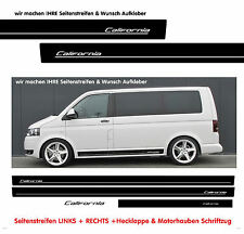 VW Bus T4 T5 T6 Seitenstreifen CALIFORNIA Aufkleber Komplett Set Schwarz Matt